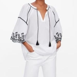 NWT Zara Embroidered Oversized Top with Tassels